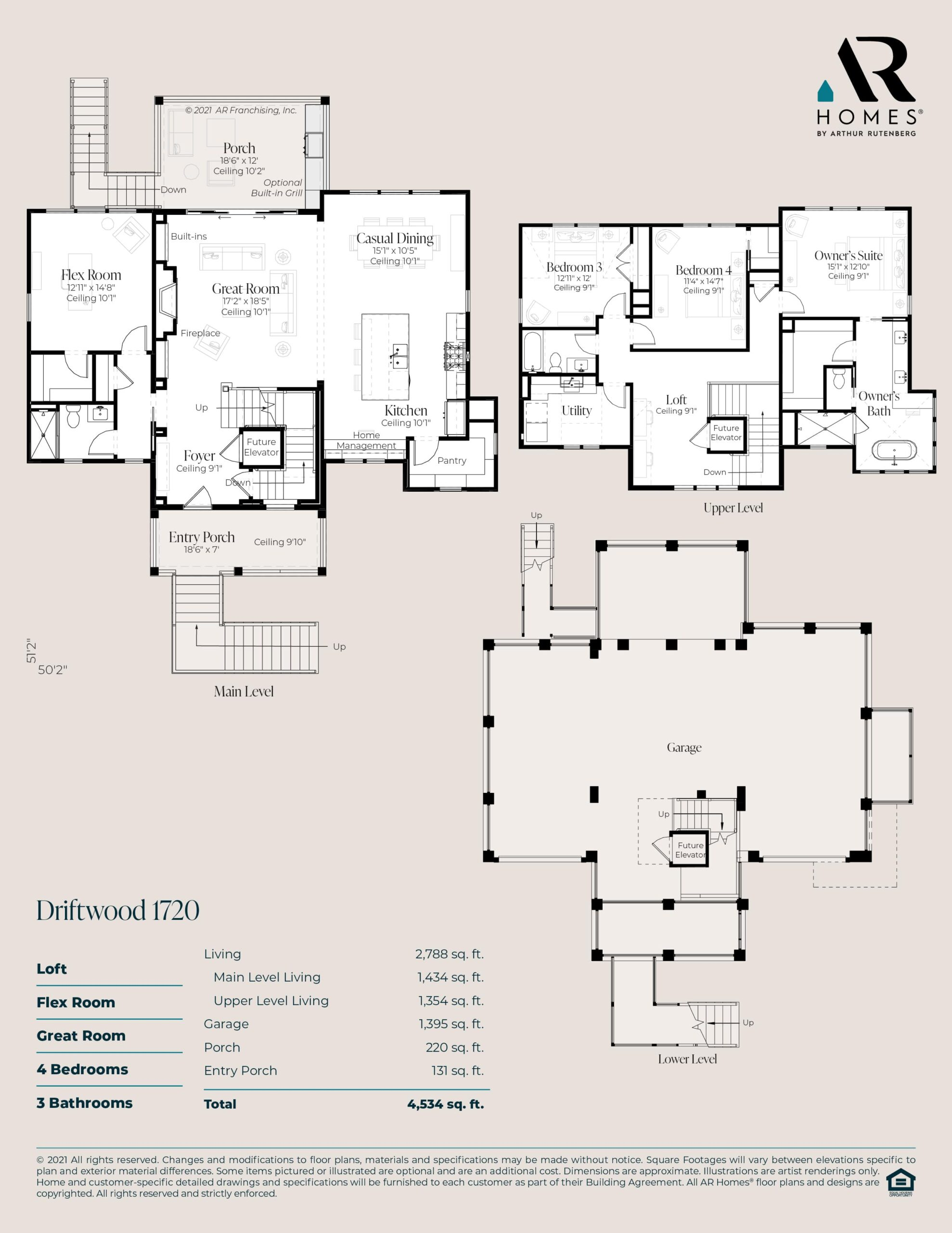 Driftwood 1720 Custom Home Floor Plan